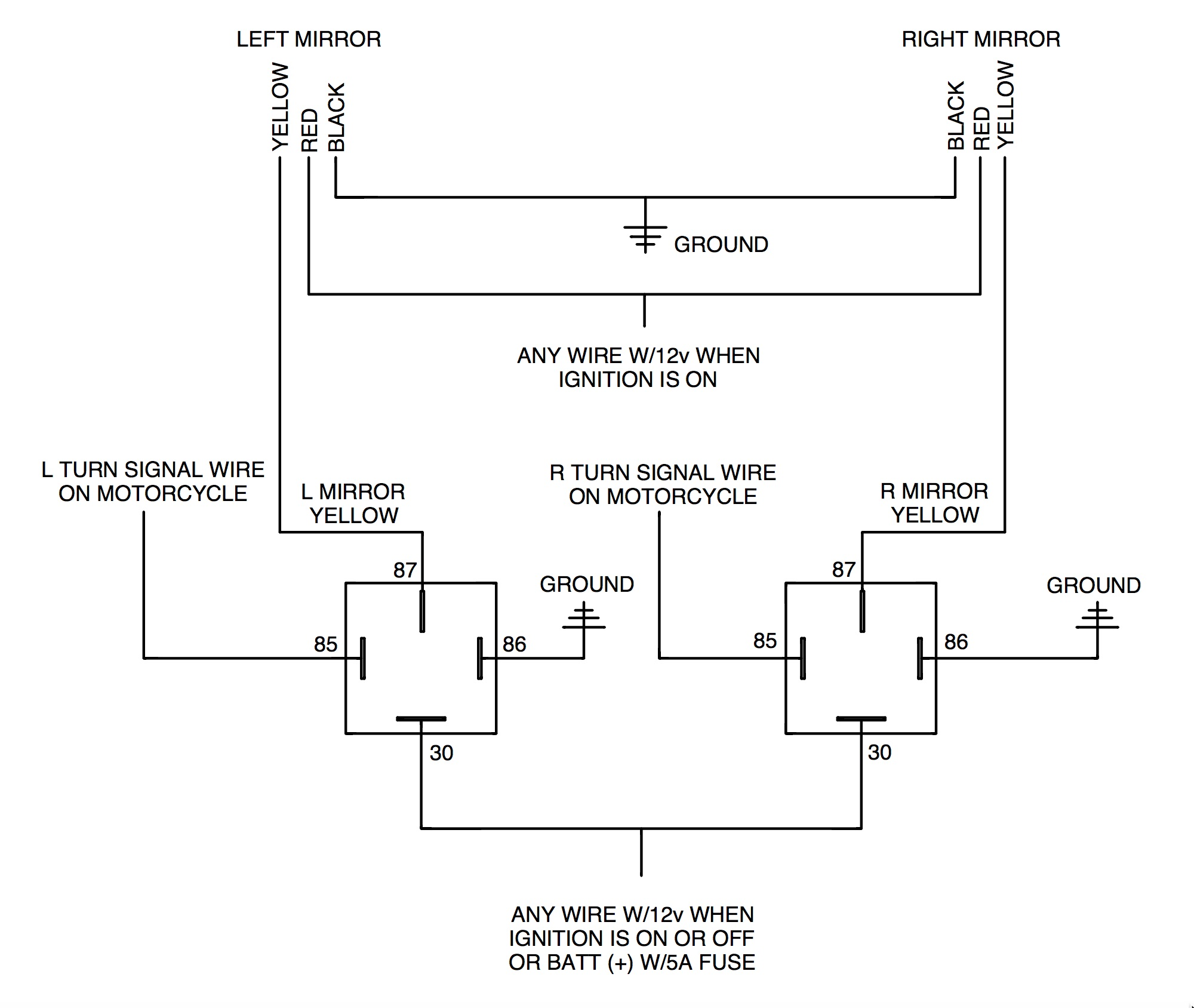 Rivco dual relay diagram adding rivco led mirrors to a victory cross country motorcycle Basic Turn Signal Wiring Diagram at n-0.co